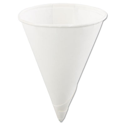 Rolled-rim paper cone cups, 4oz, white, 200/bag, 25 bags/carton, sold as 1 carton, 5000 each per carton