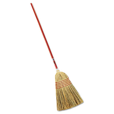 "Standard corn-fill broom, 38"" handle, red, sold as 1 each"