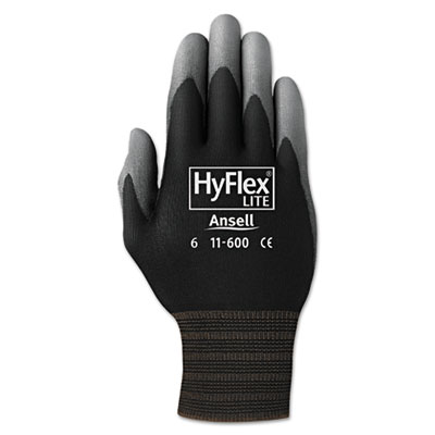 Hyflex lite gloves, black/gray, size 11, 12 pairs, sold as 12 pair