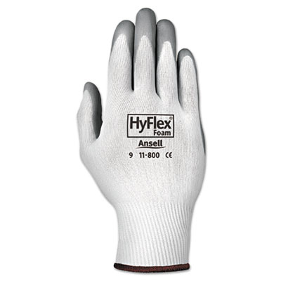Hyflex foam gloves, white/gray, size 9, 12 pairs, sold as 12 pair