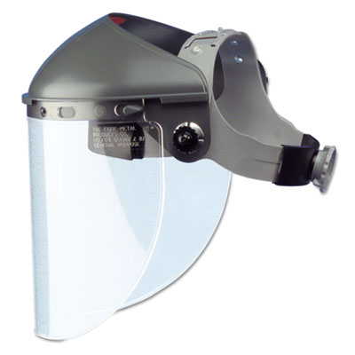 "High performance face shield assembly, 4"""" crown ratchet, noryl, gray, sold as 1 each"