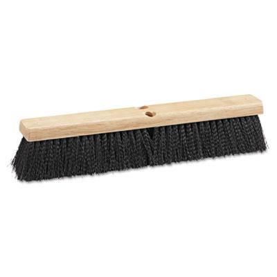 "Floor brush head, 18"" wide, black, medium weight, polypropylene bristles, sold as 1 each"