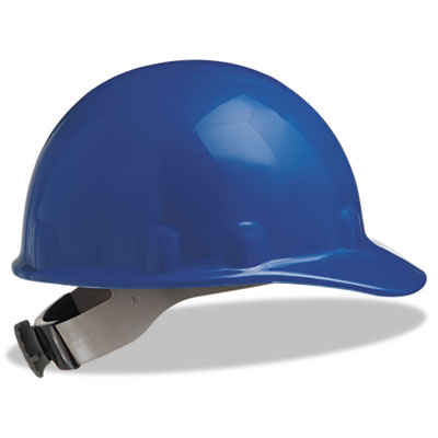 E-2 cap hard hat with ratchet suspension, blue, sold as 1 each