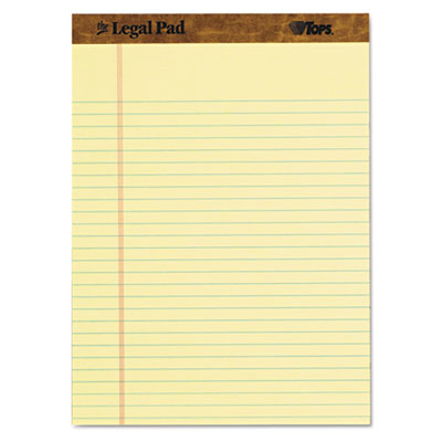 The legal pad ruled perforated pads, 8 1/2 x 11, canary, 50 sheets, 3 pads/pack, sold as 1 package