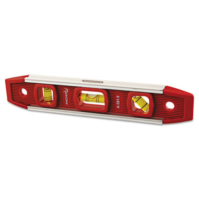 "Magnetic torpedo level, 9"""" long, aluminum, tri-vial, sold as 1 each"