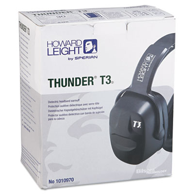 Thunder t3 dielectric earmuffs, 30nrr, black, sold as 1 each