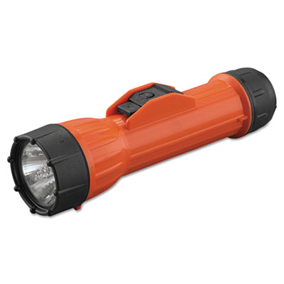 Worksafe waterproof flashlight, 2d (sold separately), orange/black, sold as 1 each