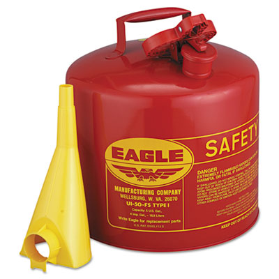 Safety can, type i, 5gal, red, with f-15 funnel, sold as 1 each