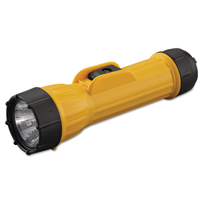 Industrial heavy-duty flashlight, 2d (sold separately), yellow/black, sold as 1 each