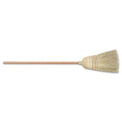 Warehouse broom, corn/sotol bristles, wood handle, yellow, 6/pk, sold as 6 each