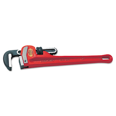 "Ridgid cast-iron straight pipe wrench, 8"""" long, 1"""" jaw capacity, sold as 1 each"