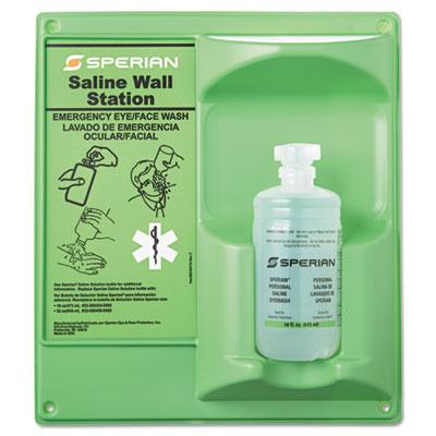 Saline eye wash wall station, 16oz bottle, 1 bottle/station, sold as 1 kit