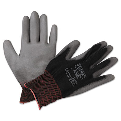 Hyflex lite gloves, black/gray, size 7, 12 pairs, sold as 12 pair