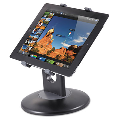 "Stand for 7"" to 10"" tablets, swivel base, plastic, black, sold as 1 each"