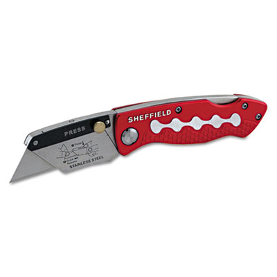 Sheffield lockback knife, 1 utility blade, red, sold as 1 each