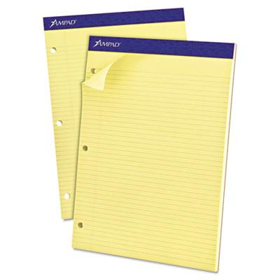 Double sheet pad, narrow/margin pad, 8 1/2 x 11 3/4, canary, perfed, 100 sheets, sold as 1 pad