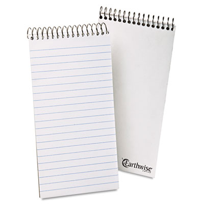 Earthwise recycled reporter's notebook, wide, 4 x 8, white, 70 sheets, sold as 1 each