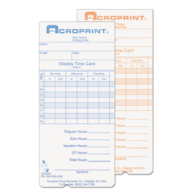 Weekly time cards for atr240 and atr360, 250/pack, sold as 1 package