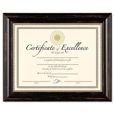 Genova document frame, 8 12/ x 11, plastic, black, sold as 1 each