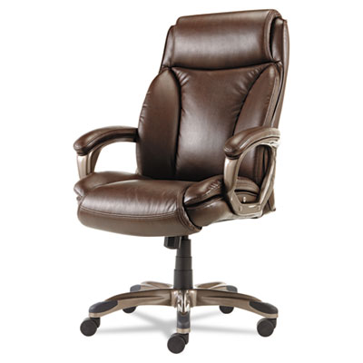 Veon series executive high-back leather chair, w/ coil spring cushioning, brown, sold as 1 each