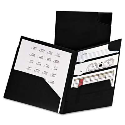 Divide it up four-pocket poly folder, 11 x 8-1/2, black, sold as 1 each