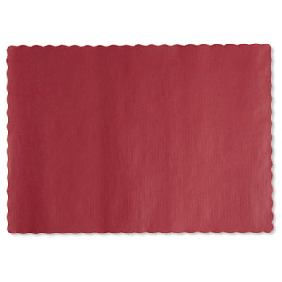 Solid color scalloped edge placemats, 9 1/2 x 13 1/2, red, 1000/carton, sold as 1 carton, 1000 each per carton