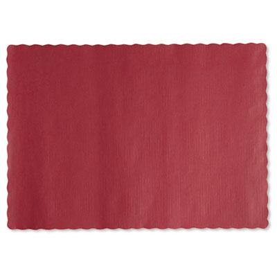 Solid color scalloped edge placemats, 9 1/2 x 13 1/2, red, 1000/carton, sold as 1 carton, 1000 each per carton