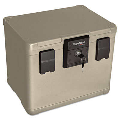 Fire and waterproof chest, 0.60 ft3, 16w x 12-1/2d x 13h, taupe, sold as 1 each