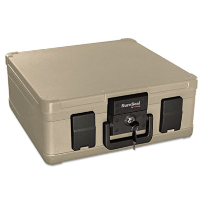 Fire and waterproof chest, 0.27 ft3, 15-9/10w x 12-2/5d x 6-1/2h, taupe, sold as 1 each