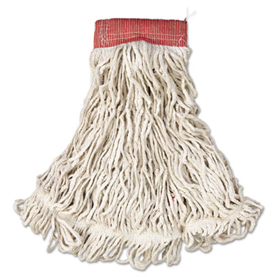 "Web foot wet mop, cotton/synthetic, white, large, 5"" red headband, 6/carton, sold as 1 carton, 6 each per carton"