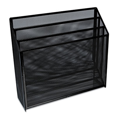 Mesh three-tier organizer, black, sold as 1 each