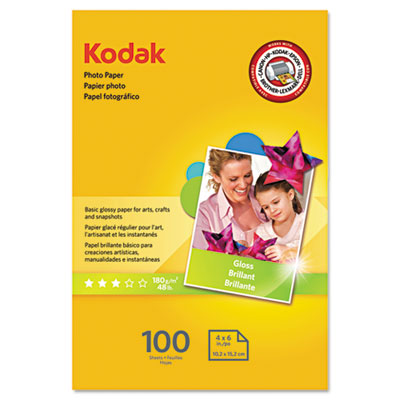 Photo paper, 6.5 mil, glossy, 4 x 6, 100 sheets/pack, sold as 1 package