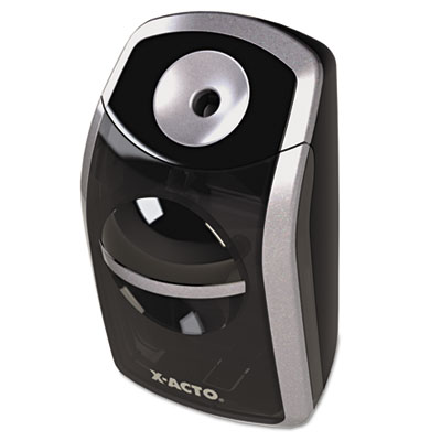 Sharpx portable pencil sharpener, battery operated, black/silver, sold as 1 each