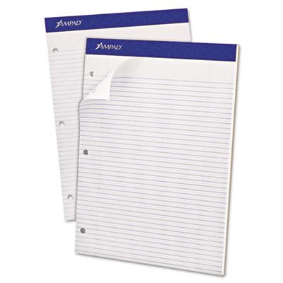Double sheet pad, narrow/margin ruled pad, 8 1/2 x 11 3/4, white, 100 sheets, sold as 1 pad