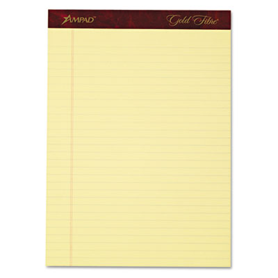 Gold fibre writing pads, legal/legal rule, ltr, canary, 4 50-sheet pads/pack, sold as 1 package