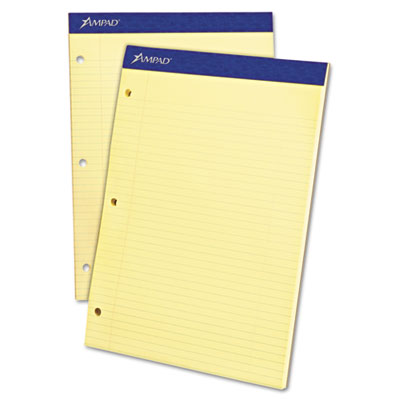 Double sheet pad, college/medium, 8 1/2 x 11 3/4, canary, perfed, 100 sheets, sold as 1 pad