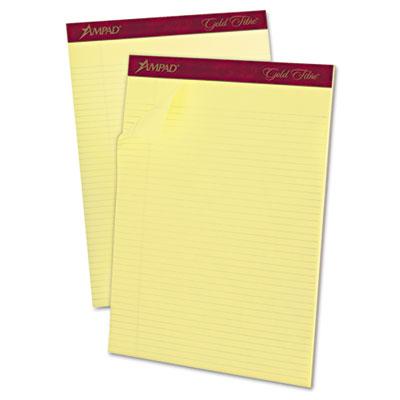 Gold fibre pads, 8 1/2 x 11 3/4, canary, 50 sheets, dozen, sold as 1 dozen