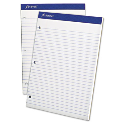 Double sheet pad, legal/legal rule, 8 1/2 x 11 3/4, white, perfed, 100 sheets, sold as 1 pad