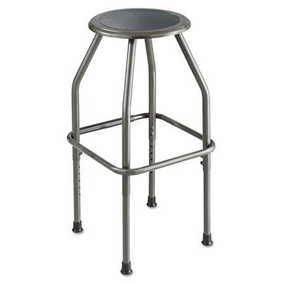 Diesel series industrial stool, stationary padded seat, steel frame, pewter, sold as 1 each