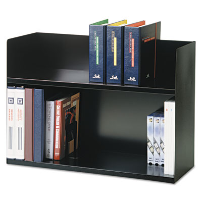 Two-tier book rack, steel, 29 1/8 x 10 3/8 x 20, black, sold as 1 each