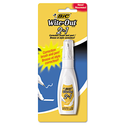 Wite-out 2 in 1 correction fluid, 15 ml bottle, white, sold as 1 each