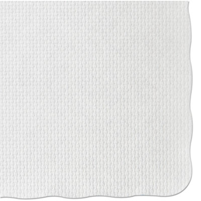 Knurl embossed scalloped edge placemats, 9 1/2 x 13 1/2, white, 1000/carton, sold as 1 carton, 1000 each per carton