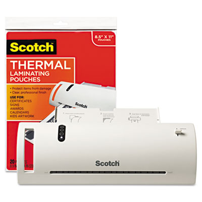 """Thermal laminator value pack, 9"""" w, with 20 letter size pouches, sold as 1 each"""