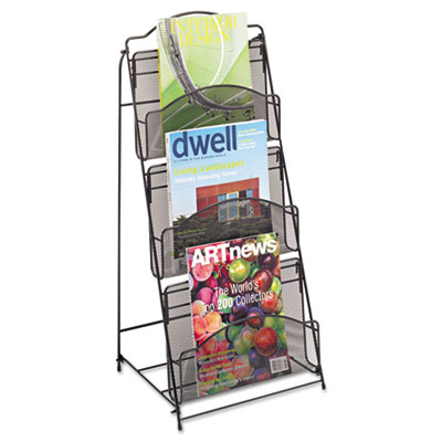 Onyx magazine floor rack, 12-1/2w x 13d x 26-3/4h, black, sold as 1 each