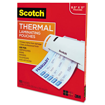 Letter size thermal laminating pouches, 3 mil, 11 1/2 x 9, 100 per pack, sold as 1 package