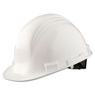 A-safe peak hard hat, 4-point ratchet suspension, white, sold as 1 each