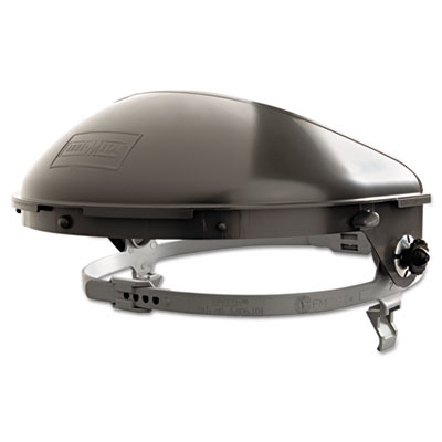 """High-performance speed-mount-loop face shield assembly, gray, 4"""""""" crown, sold as 1 each"""