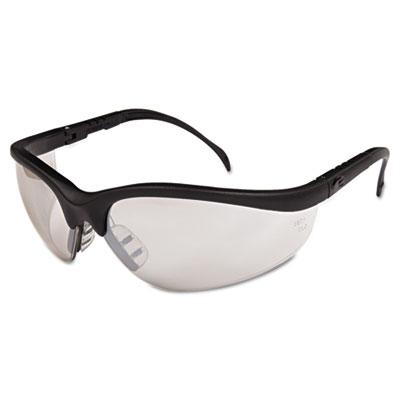 Klondike safety glasses, black matte frame, clear mirror lens, sold as 1 box, 12 each per box