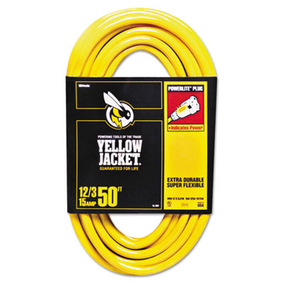 Yellow jacket power cord, 12/3 awg, 50ft, sold as 1 each