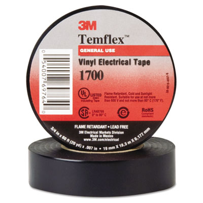 "Temflex 1700 vinyl electrical tape, 3/4"" x 60ft, sold as 1 roll"
